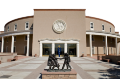 A photograph of front of the New Mexico State Capital building